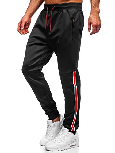 BOLF Herren Sporthose Trainingshose Fitnesshose Fußballhose Jogginghose Jogger Sweathose Jogpants Sweatpants Pants Slim Fit J.Style K20025 Schwarz L [6F6]