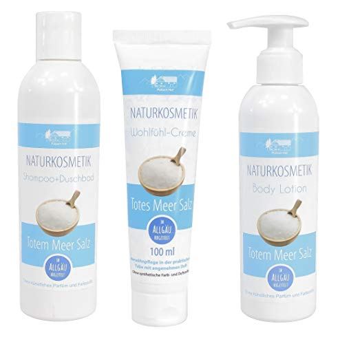 Totes Meer Salz Naturkosmetik Pflege Set 3tlg| Bodylotion 200ml | Wohlfühlcreme 100ml | Schampoo-Duschbad 250ml