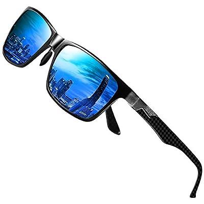DUCO Men's Luxury Carbon Fiber Temple Polarized Sunglasses for Men Sports UV400 DC8206 (Black Frame Blue Lens)