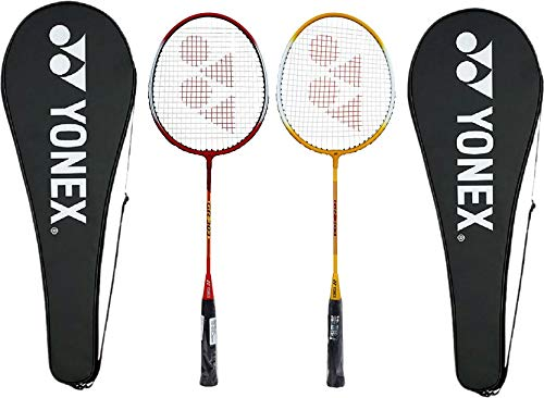 YONEX GR 303 Aluminum Blend Badminton Racquet with Full Cover, Set of 2 (Red/Yellow)