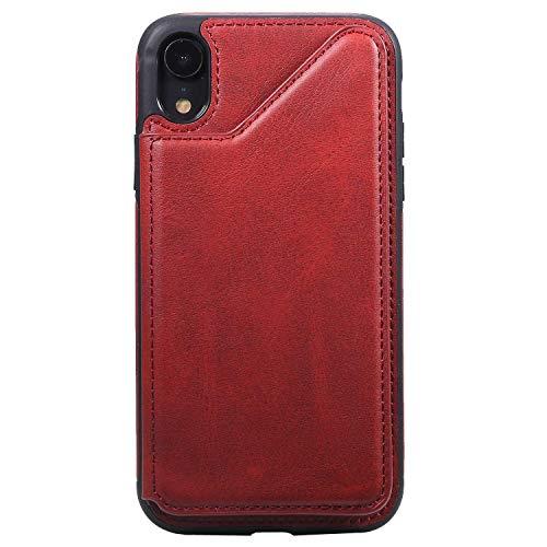 Bear Village Coque Compatible avec iPhone XR, Elégant Housse en PU Cuir, Flexible Antichoc Coque avec Slots de Carte pour iPhone XR, Rouge
