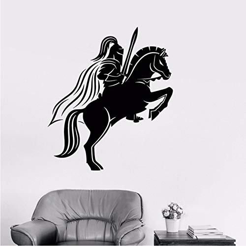 LLLYZZ Middeleeuwse ridder op paard met zwaard vinyl muursticker, decoratie voor thuis, doe-het-zelf, muurkunst, behang, 58 x 67 cm
