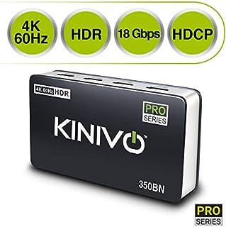 Kinivo 350BN 4K HDMI Switch with IR Wireless Remote (3 Port, 4K 60Hz HDR, High Speed-18Gbps, Auto-Switching)
