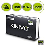 Kinivo 550BN 4K@60Hz Premium 5-Port HDMI Switch With Remote - Supports 4K 60Hz UltraHD, High Speed(18Gbps), HDR, HDCP 2.2 & 3D
