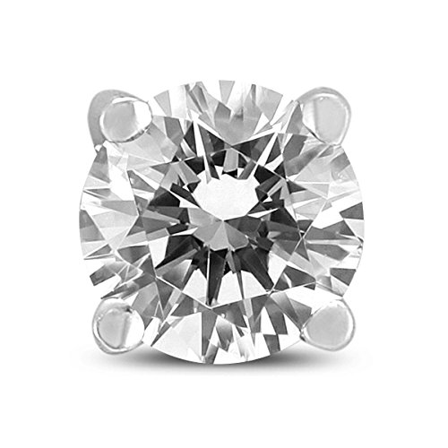 Aretes de diamante redondo de 1/2 quilate para hombre en oro blanco de 14 quilates