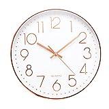 Jeteven 掛け時計 おしゃれ 壁掛け時計 クオ--ツ 静音 ローズゴールド 約30cm ホーム ベッドルーム キッチン プレゼント