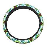 Lenkradbezug, blaue Schneeflocke und grüne Sonnenblumen, universelle Passform, 38,1 cm, rutschfeste...