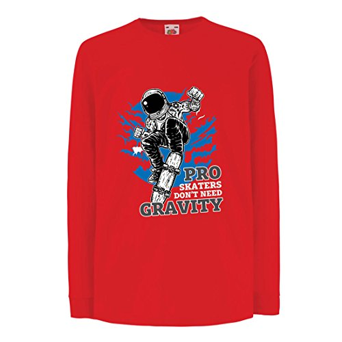 Camisetas de Manga Larga para Niño Pro Skaters Don't Need Gravity - Refranes del Skateboard, me Encanta Patinar (12-13 Years Rojo Multicolor)