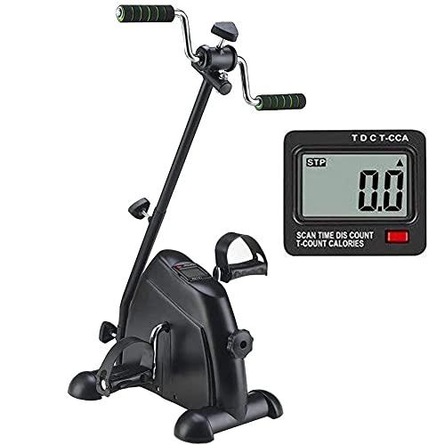 Ejercitador de pedales para bicicletas debajo del escritorio, ejercitador de pedales - Vendedor ambulante médico para ejercicios de recuperación de piernas, brazos y rodillas con monitor LCD