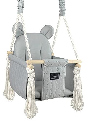 NATILU® Holz Babyschaukel Kinderschaukel Holz Babywippe Zimmerschaukel Indoor Baby Schaukel Stoff Babysitz Baby Schaukel zum Aufhängen (MR. BEAR)