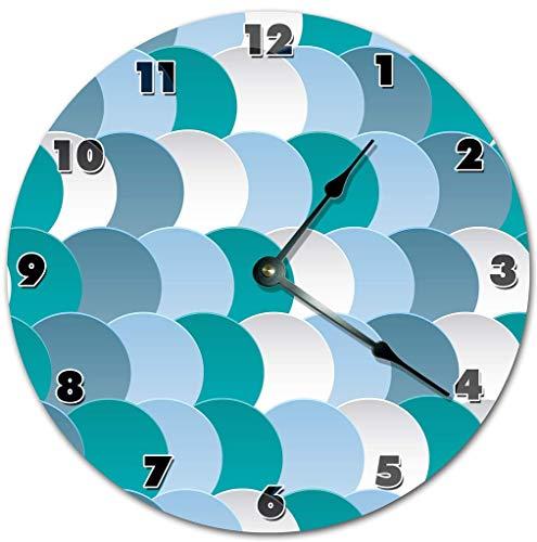Reloj de Pared Colgante Hecho a Mano con Pilas Redondo silencioso sin tictac de Escamas de Pescado Azul para decoración de cabaña de Oficina de Dormitorio