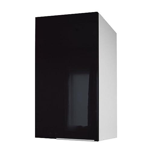Berlenus CP4HN Meuble Haut de Cuisine avec 1 Porte Noir Haute Brillance 40 cm