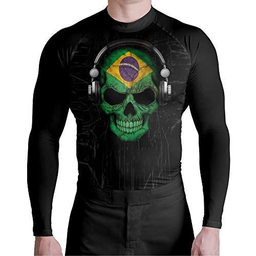 Camiseta Compressão Pro Skull Ordem e Progresso Atlética Esportes Tamanho:G;Cor:Preto