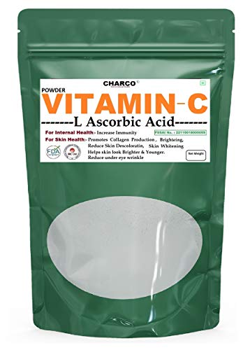 CHARCO - Skin To Internal Health® Vitamin C Powder (L-Ascorbic Acid Powder); Spl. For Immunity Booster , Spl. For use in Face Serum Skin Care, toners, lotions, creams, Helps Skin cell Protection, Collagen Booster, 100 Gm (0.22 lbs)
