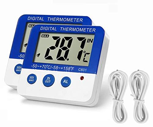 BALDR 冷凍庫 温度計 冷蔵庫 デジタル温度計 小型 最高・最低室内室外温度記録 最高・最低 室外温度アラーム機能 室温計 水槽温計 卓上スタンド マグネット付 防水外部センサー 日本語簡易説明書付属 2本セット