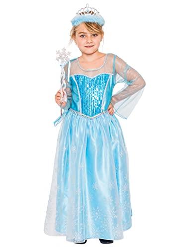 Disfraz de princesa de hielo azul de 3 piezas, vestido, diadema, varita mgica, disfraz infantil para carnaval y carnaval, tamao: 140