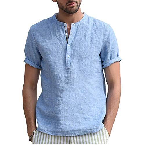 Yowablo Herren Hemd Hawaiihemd Freizeithemd Kurzarm Hemd Herren Kurzarm (XXL,Blau)
