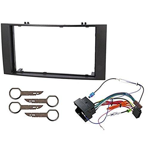 Sound-way Kit Montage Autoradio, Marco 2 DIN Radio de Coche, Cable Conector ISO, Adaptador Antena, Llaves Desmontaje compatible con VW VOLKSWAGEN T5 MULTIVAN, TOUAREG