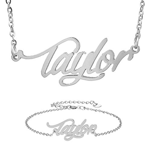 HUAN XUN Personal Name Necklace & Bracelet Silver Jewelry Set for Womens