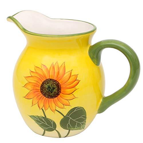 Dekohelden24 Dolomite Milchkrug/Milchkanne, Motiv: Sonnenblume in gelb/grün, Größe ca. 15,8 x 10,7 x 13 cm.