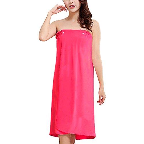 Liying–Mujeres Body Wrap cubierta suave de agua absorbente albornoz sin tirantes Hasta toalla de baño Spa albornoz de vestido tubo toalla de baño Housecoat, terciopelo, rosa (b), talla única