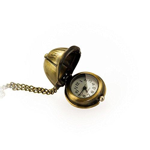 Kobert Goods TU 51 horloge met cappy hanger om open te klappen en lange ketting in oudgoud-look, halsketting modesieraad
