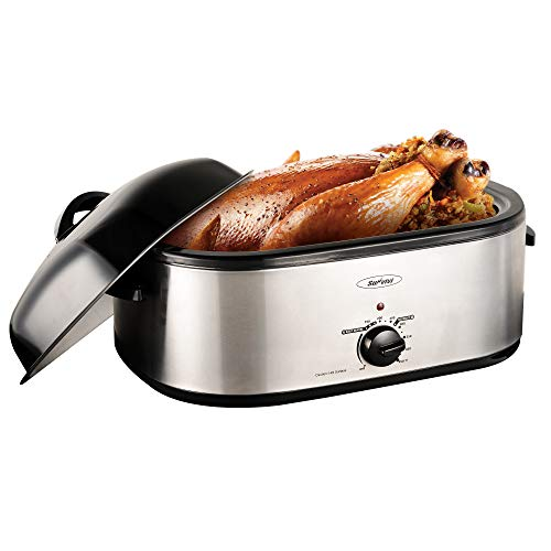 Sunvivi 18 Quart Electric Roaster Oven, Turkey Roaster Oven Buffet with Self-Basting Lid Removable Pan, Full-Range Temperature Control Cool-Touch Handles, Silver