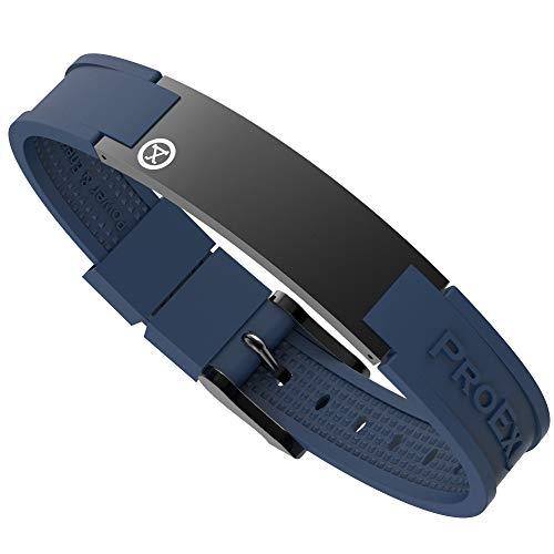 ProExl Best Sports Golf Magnetic Bracelet Carbon Satin Black with Blue Strap Waterproof