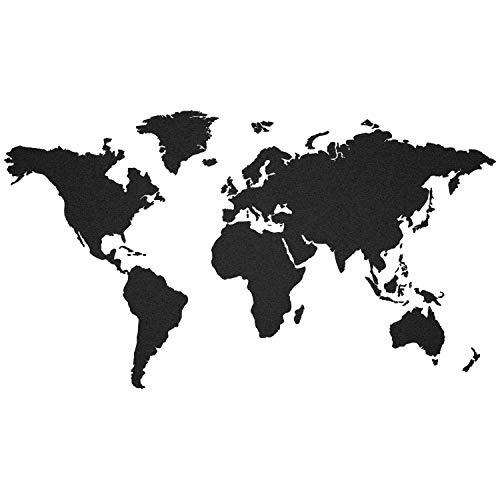 murando - SCHWARZ KORK WELTKARTE PINNWAND & KREIDETAFEL - SELBSTKLEBEND! 140x75 cm aus 100% NATURKORK & HANDBEMALT - KORKTAFEL - KORK - XL FORMAT k-A-0102-u-a