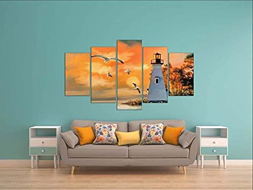 KOPASD Pared Arte de Obras de Arte Moderno Faro de Sunrise para Colgar Cuadros sobre El Lienzo con Bastidor(100x55cmx5pcs)