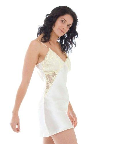 Babydoll en soie et Short Robe de Chambre Set - taille: XL - couleur: crème