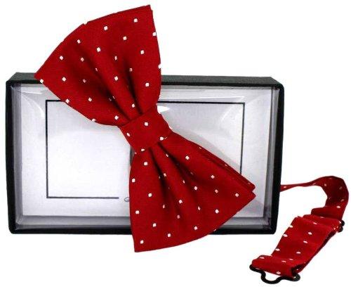 David Van Hagen / Cravate blanche Mini Pois soie rouge - déjà- nouée de