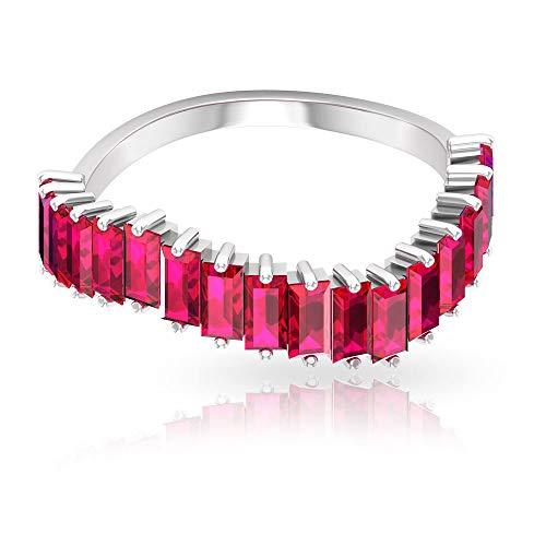 Anillo con banda ondulada de rubí certificado SGL de 2,65 ct, forma de baguette, anillo de promesa de dama de honor, anillo único de aniversario de boda, 14K Oro rosa, Size:EU 69