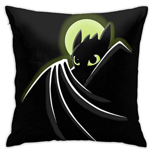 Niet bruikbare Throw Pillow Covers Dragman Night Fury Toothless beide zijden zacht vierkant bank decoratieve Home kussensloop voor bank bed