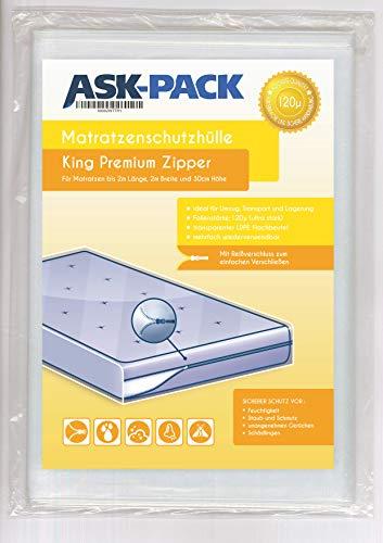 ASK Pack Custodia Materasso Premium King - con Cerniera Lampo - per Materasso da Larghezza 200cm / Altezza 30cm / Lunghezza 200cm- Extra Forte 120µ