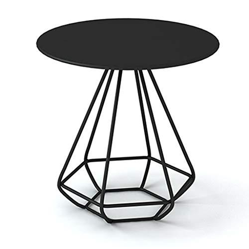 KST salontafel van smeedijzer, bijzettafel, rond, bank, slaapkamer, nachtkastje, balkon, kleine eettafel, rond, bureau, zwart, goudkleurig