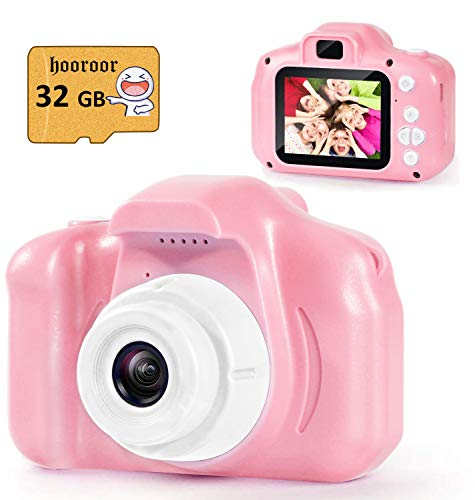 hooroor Kids Digital Camera Video 2.0 Inch IPS Screen 1080P with 32GB Card Children Mini Rechargeable Toy Camera for Girls Children Toddler 3-10 Year Old Birthday Christmas New Year Gift (Pink)