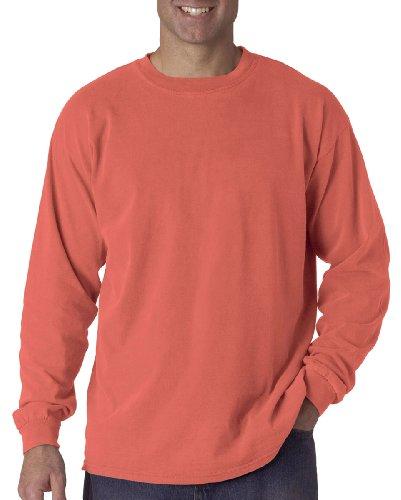 Comfort Colors Ringspun Garment-Dyed Long-Sleeve T-Shirt, XL, Bright Salmon