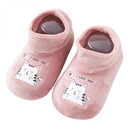 Zapatos para bebé de 6 a 12 meses, calcetines de piso para niñas, zapatos para aprender a andar, zapatos de suelo suave, antideslizantes, para interiores y niños, Rosa., M