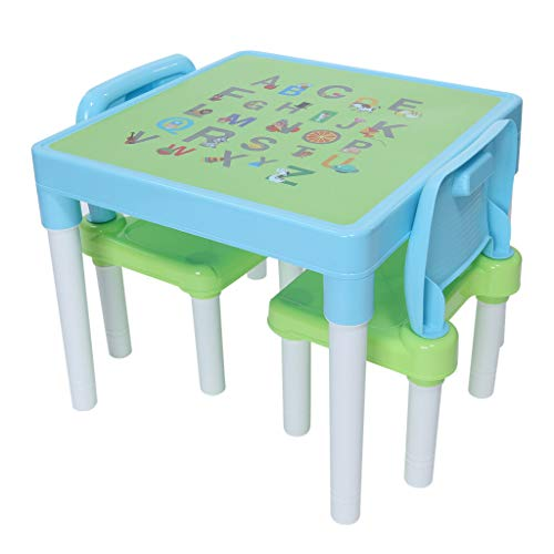 raillery Plastic Kids Table and 2 Chairs Set, Set for Boys Or Girls Toddler Activity Chair Best for Toddlers Lego, Reading, Train, Art Play-Room