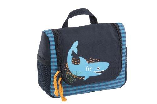 LÄSSIG Kulturtasche Junge zum Hängen mit Namensschild Kulturbeutel Waschbeutel Waschtasche Kinder / Mini Washbag, Shark