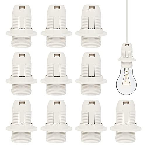 10Pcs E14 Portalámparas 250V 2A, Soporte de Lámpara de Bombilla E14 Plástica Base de la Bombilla Roscada para LED CFL Dormitorios Salas de Estar Cocinas(Blanco)
