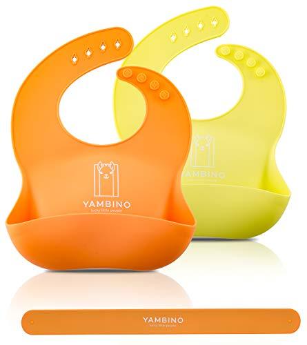 Set de 2 baberos de bebé con correa 30x22cm - Saco de goteo de silicona suave sin BPA – babero silicona bebe babero rigido bebe baberos silicona bebe babero silicona baberos YAMBINO (Naranja/Amarillo)