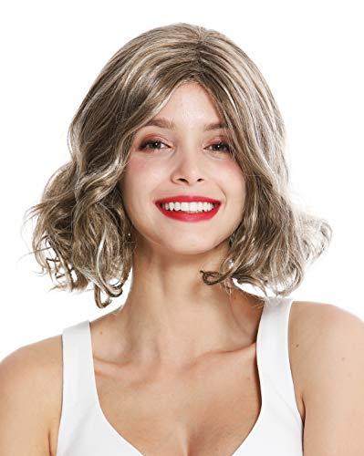 WIG ME UP - GFW3099-19-24-613 Damenperücke Perücke Damen kurz Scheitel gelockte Spitzen Dunkelblond Blond Mix