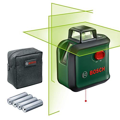Bosch Kreuzlinienlaser AdvancedLevel 360 (Horizontale 360°-Laserlinie, zwei vertikale Linien und Lotpunkt unten, grüner Laser, 4x AA-Batterien, im Karton)