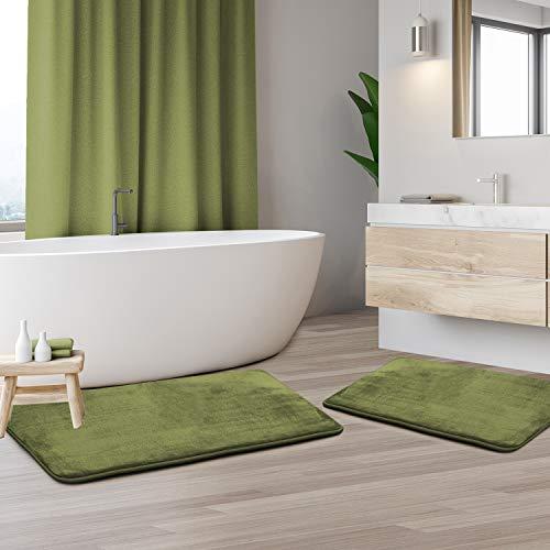 Clara Clark Bath Mat Set – Memory Foam Bath Mat - Soft Bathroom Rug - Non Slip and Super Absorbent - Fast Drying Machine Washable Bath Mat Set of 2 - Sage - Large and Small Sizes