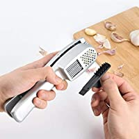 New Cocina 2 In 1 Garlic Press And Slicer Die Cast Non-stick Coating Kitchen Gadgets Ginger Crusher Peeler Garlics Chopper Ricer