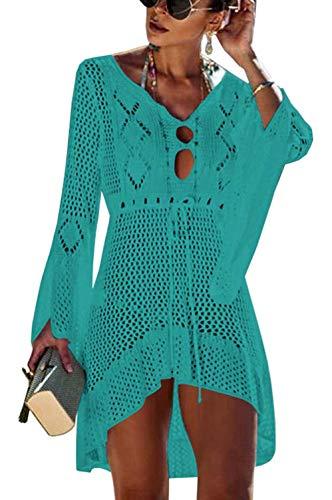 Orshoy Damen Strandkleid Gehäkelt Sommerkleid Bikini Cover Up Sommer Bademode Longshirt Tunika Strandponcho Grün