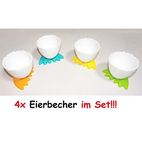 4X lustige Eierbecher mit Füßen Ei Kunststoff Frühstücksei Chicken Egg Cups