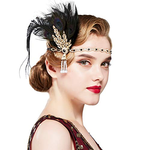 BABEYOND 1920s Flapper Peacock Feather Headband Roaring 20s Pearl Showgirl Headpiece 1920s Great Gatsby Costume Hair Accessories (Peacock Black)